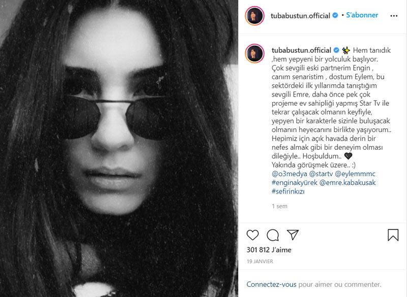 message de tuba buyukustun sur instagram pour sefirin kizi
